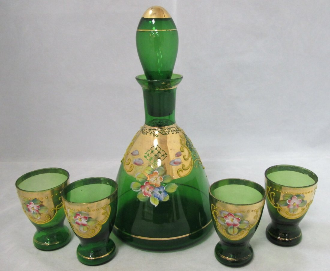 3: Painted Venetian Emerald Green Glass Painted Decante