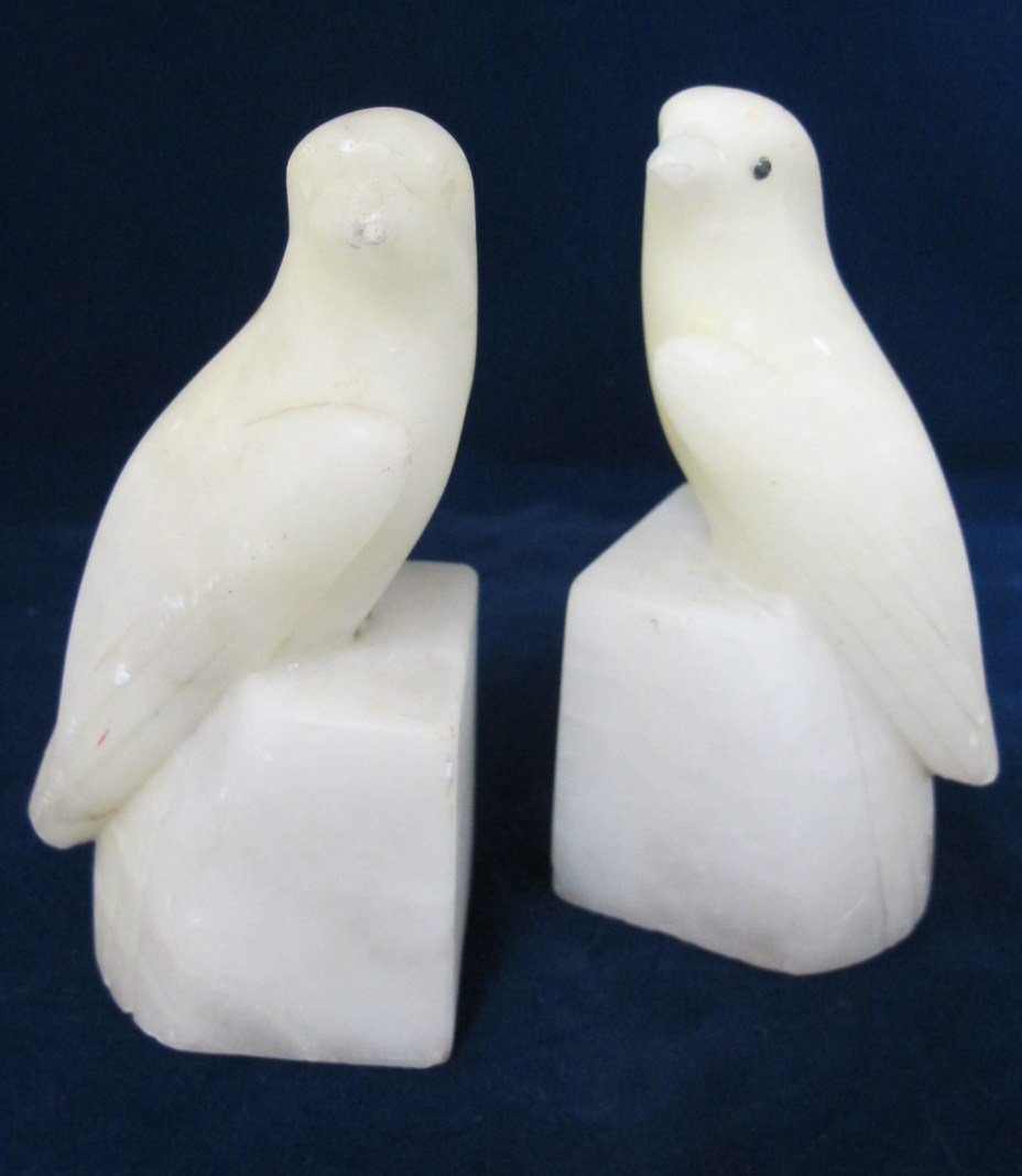 4: Pair of Carved Alabaster Dove Bookends, Italy