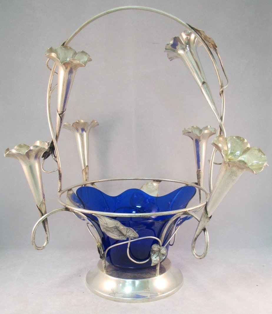 6: Silver Centerpiece Vase With Cobalt Center and 6 Flu