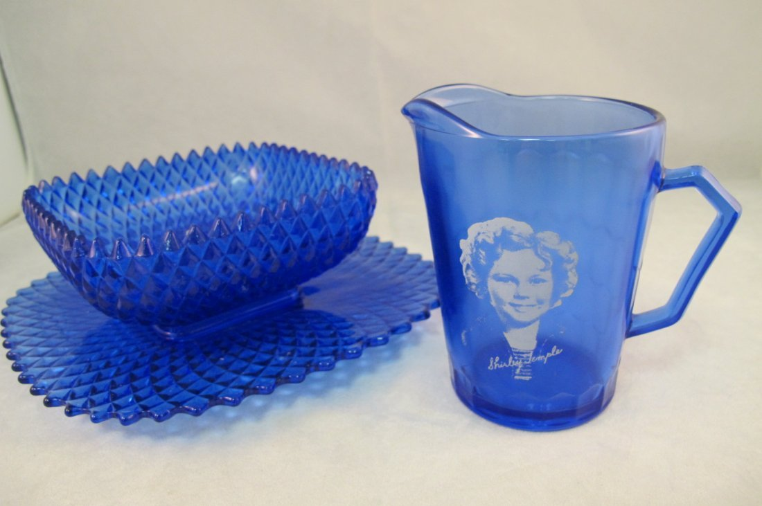9: Cobalt Shirley Temple Creamer with a Cobalt Bowl & P