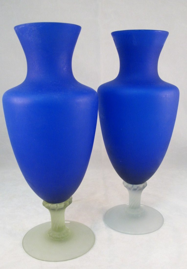 10: Pair of Blue Satin Glass Vases