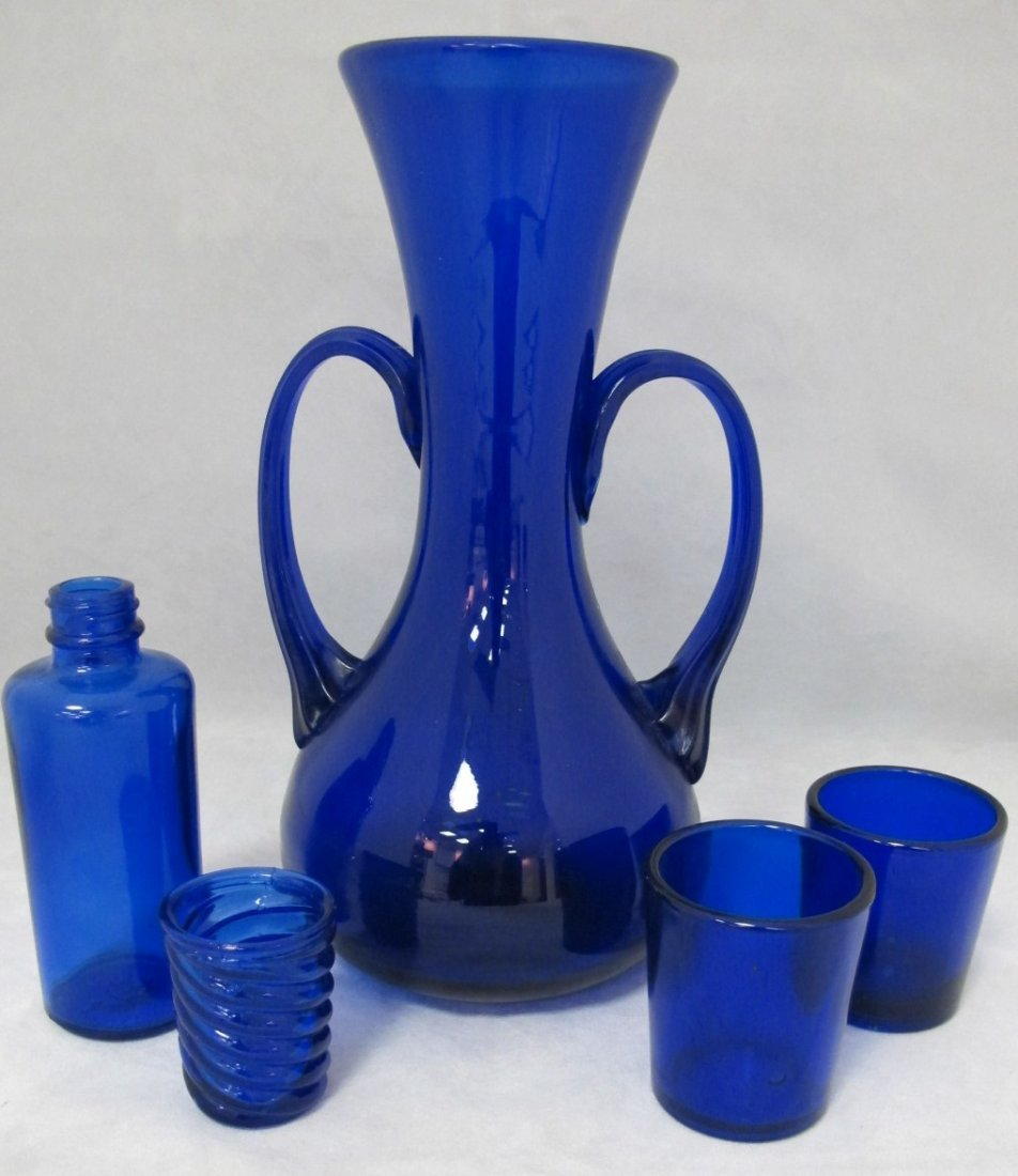 14: Collection of Cobalt Blue Glass Including Double Ha