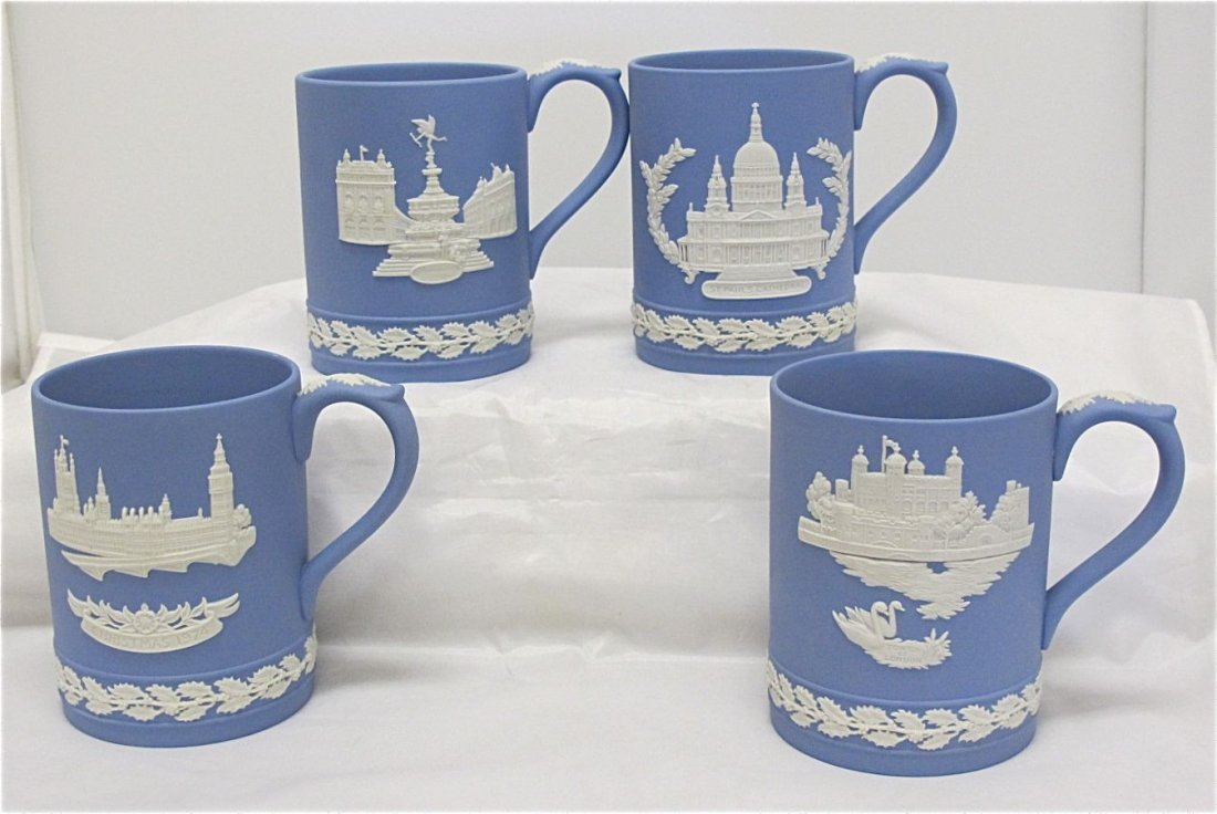 20: Wedgwood Blue Jasperware Christmas Mugs