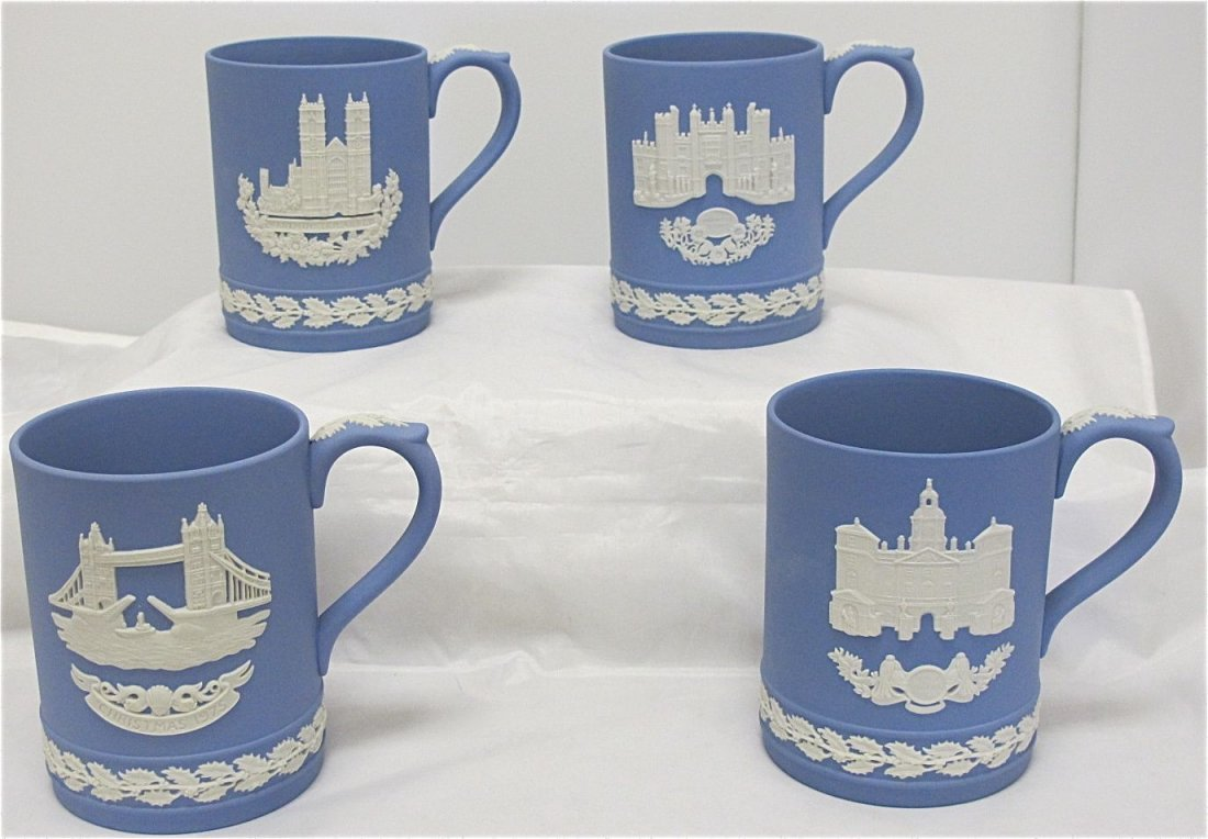 21: Wedgwood Blue Jasperware Christmas Mugs