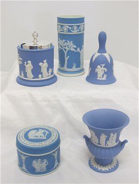 Collection Of Wedgwood Blue Jasperware To Include: