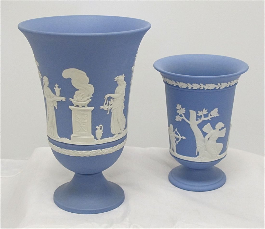 "26: Wedgwood Blue Jasperware 7 1/2"" Arcadian Vase and W"