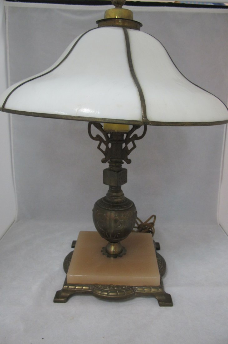 33: Antique Parlor Lamp, Brass and Marble Base, Leasded