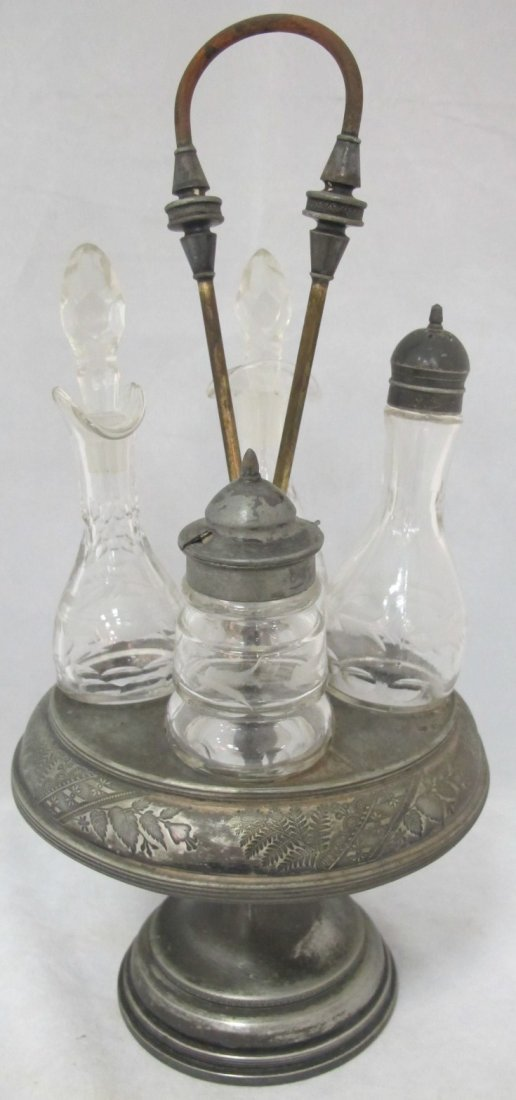 34: Silver Plated 4 Piece Cruet Set, Pedestal Carrier