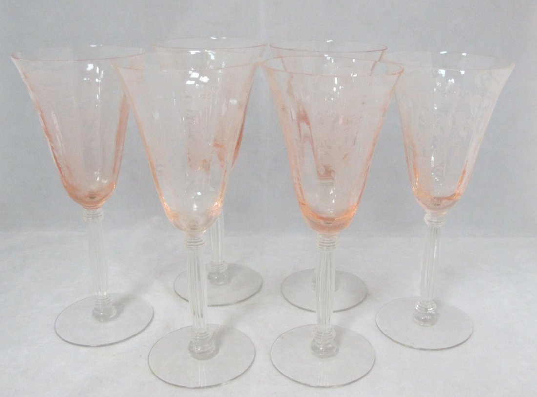 35: 6 Pink Tiffin Depression Glass Wine Glasses