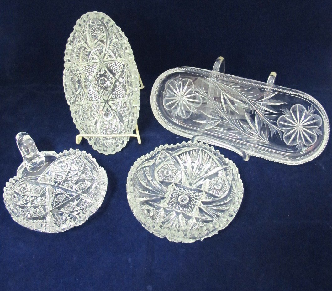 37: Etched Crystal Vegetable Dish, Nut Dish, Celery Dis