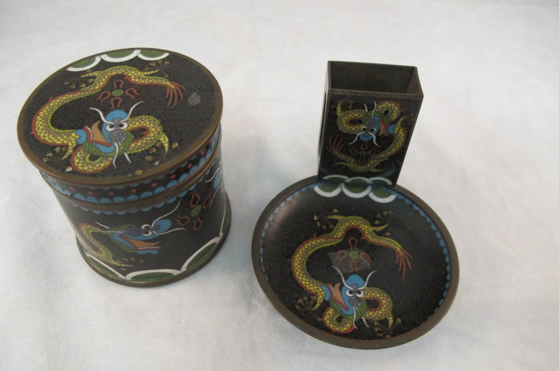 46: Chinese Cloisonne Dragon Design Matches Holder/Asht