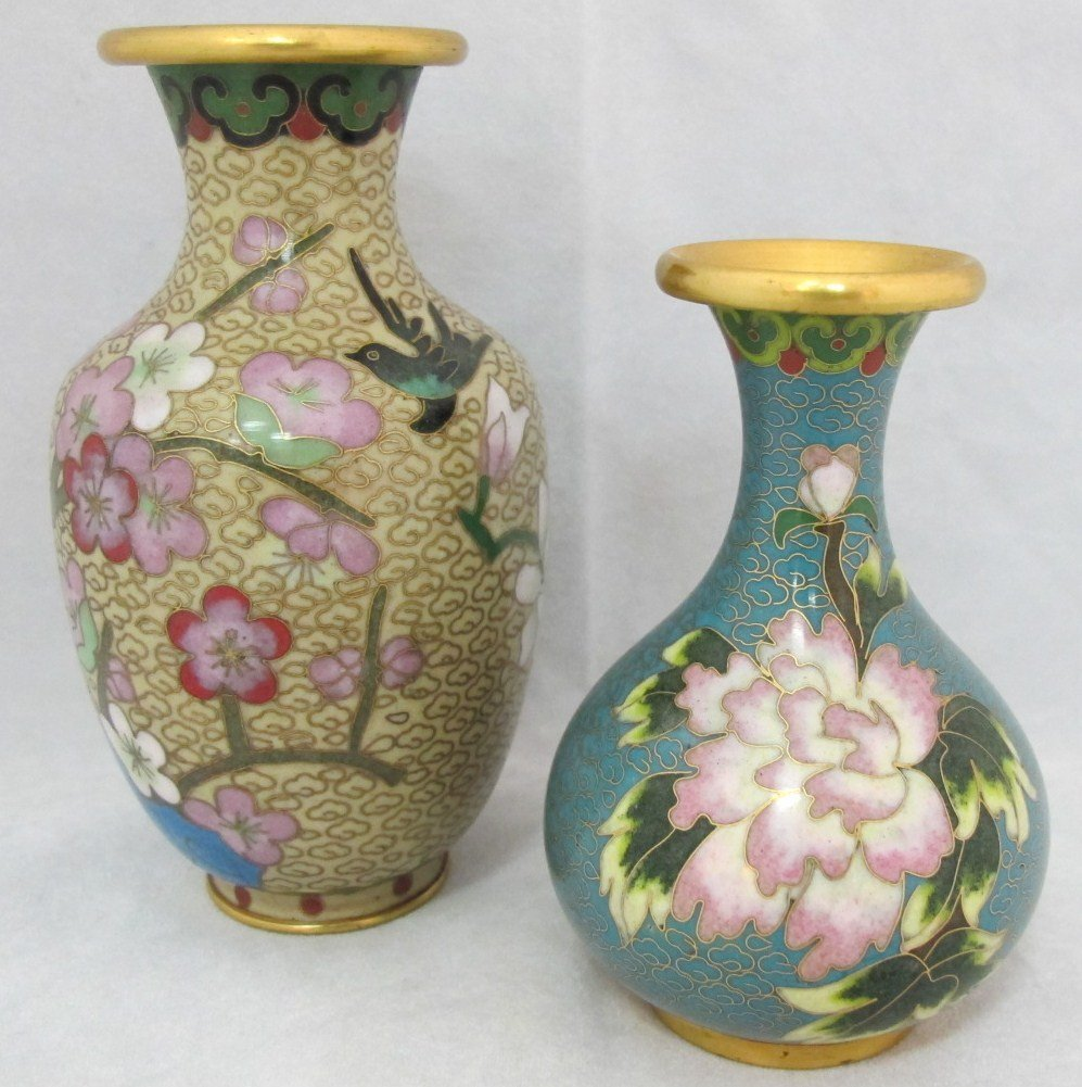 49: 2 Miniature Chinese Cloisonne Vases