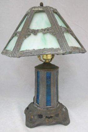 Antique American Slag Glass Table Lamp, Circa 1920