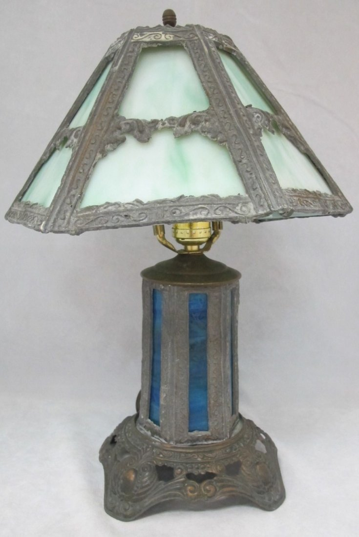 52: Antique American Slag Glass Table Lamp, Circa 1920