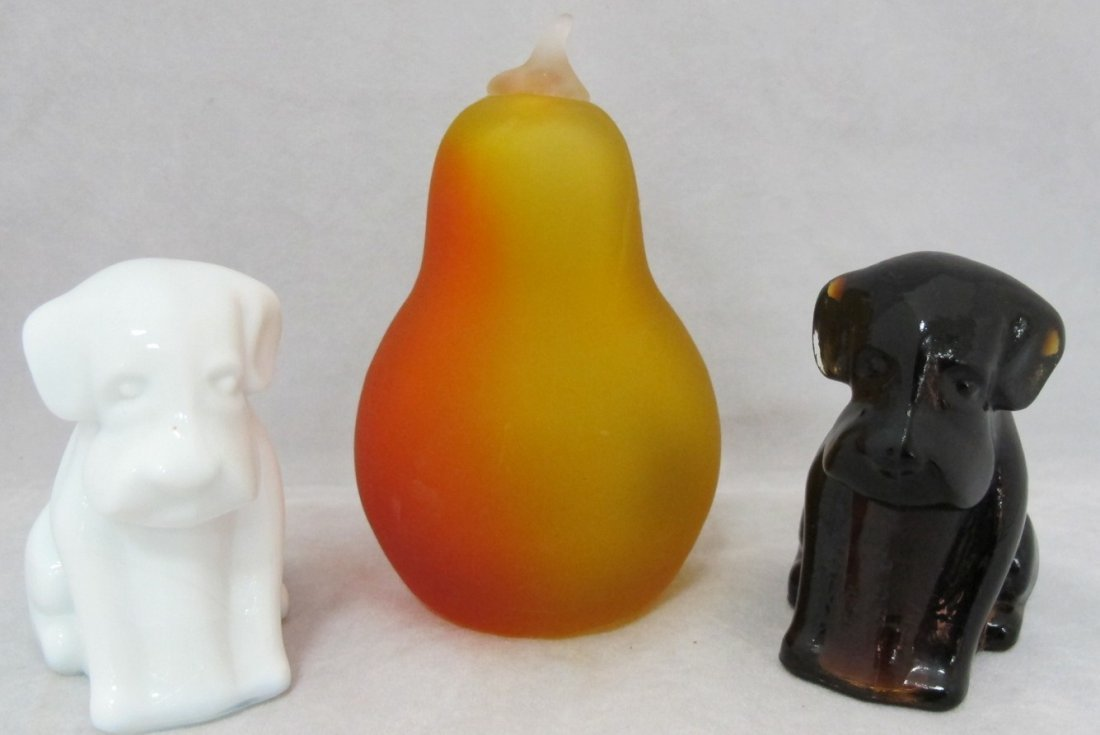 55: 2 Degenhart Glass Dogs and 1 Satin Glass Pear