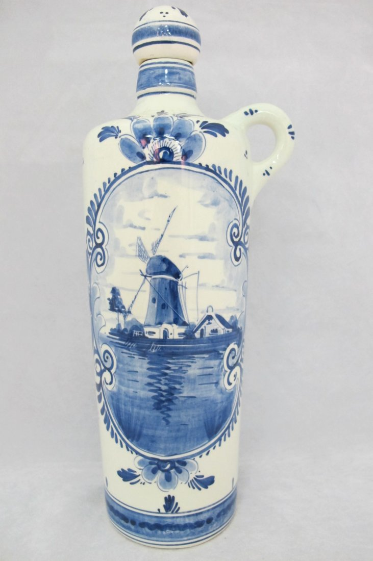 56: Delft Decanter with Windmill Design, Made in Hollan