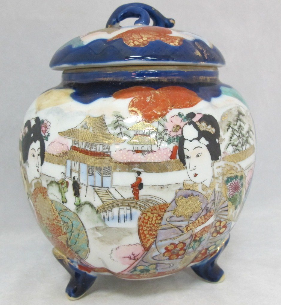 57: Japanese Porcelain Footed Covered Hand Painted Jar