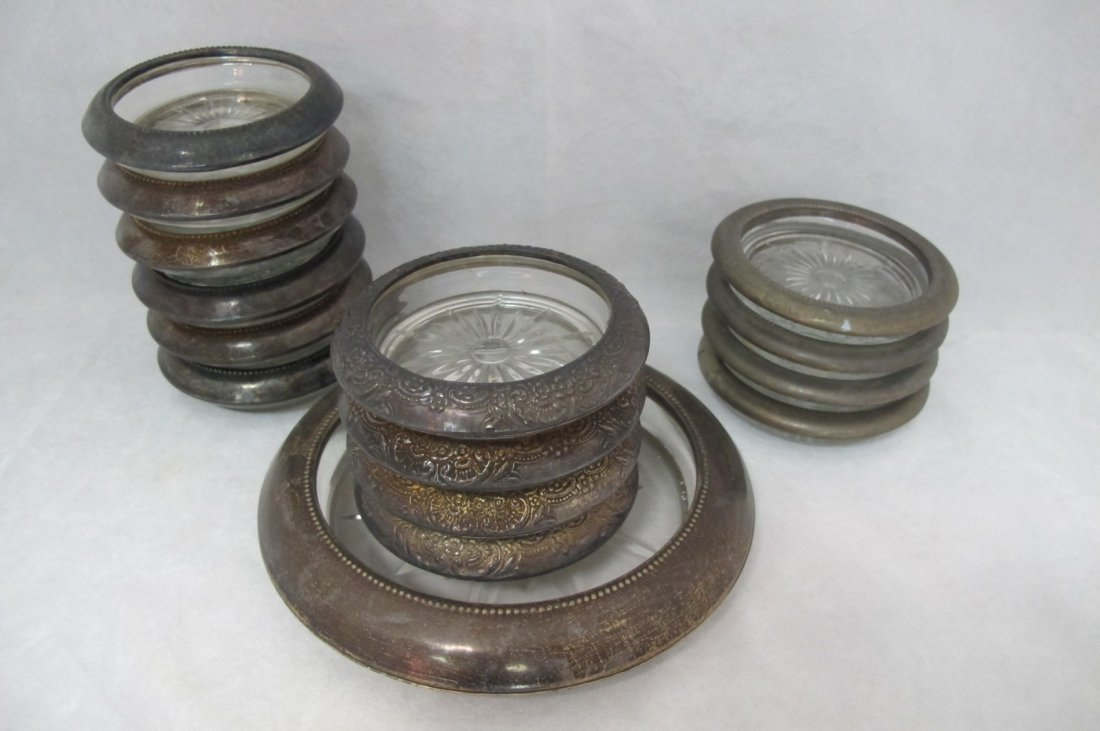 59: Collection of 14 Silver & Crystal Coasters & 1 Silv