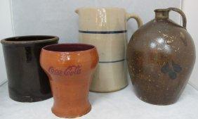 Stoneware Large Pitcher, Earthenware Crock, Earthen