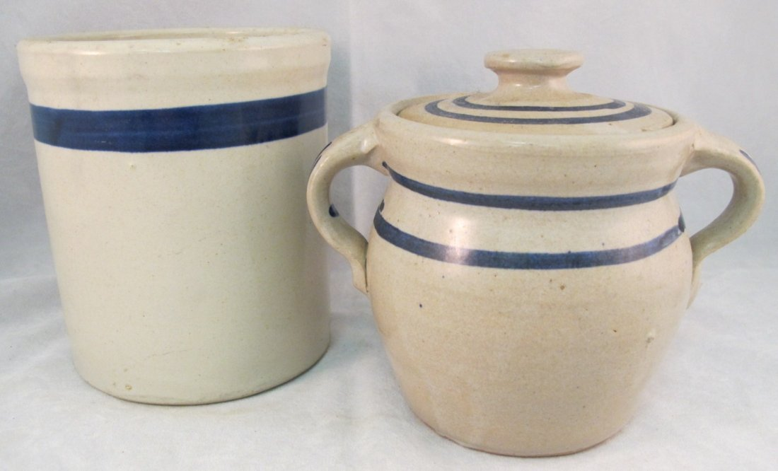 65: Stoneware Small Covered Jar & Stoneware Crock