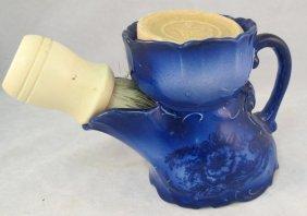 Flow Blue Shaving Mug. Mug Has Opening Side For The