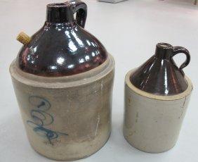 2 Antique Stoneware Jugs, 19th Century
