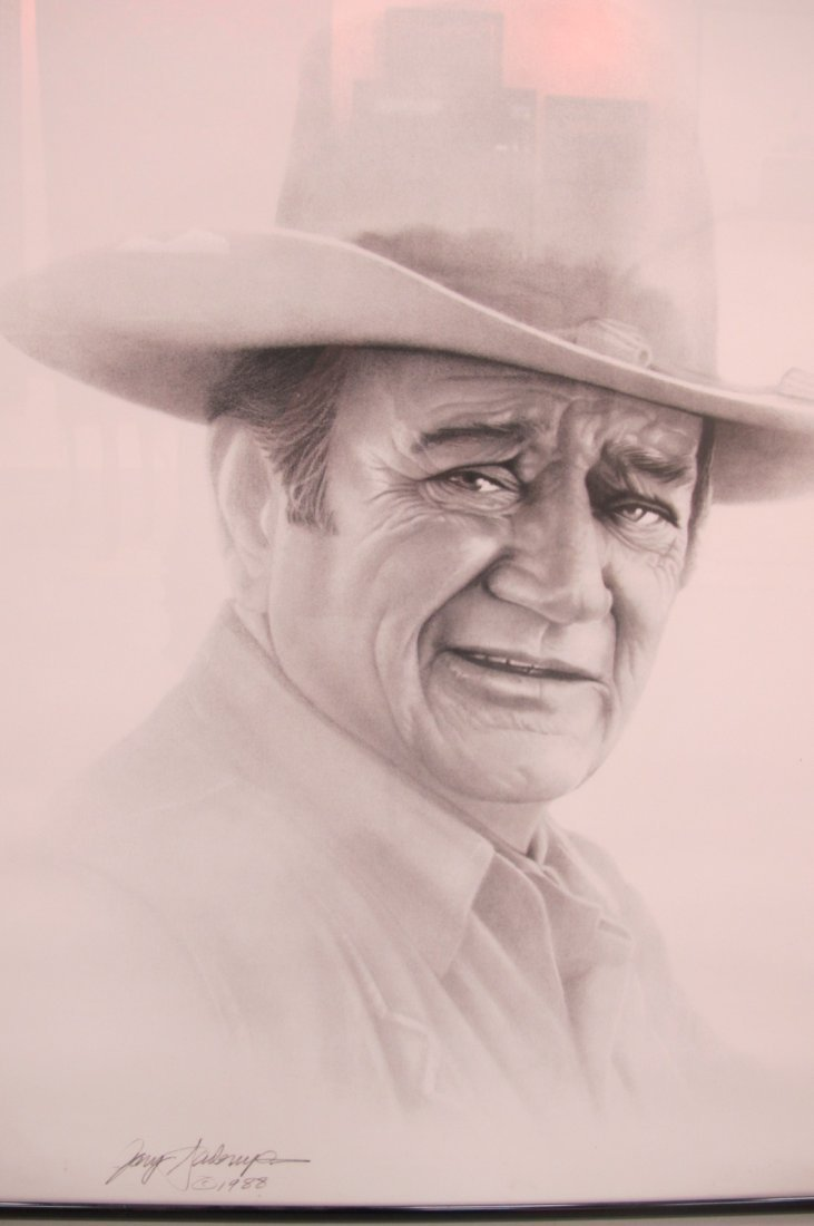 74: Framed Drawing of John Wayne Signed by The Artist