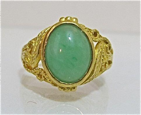78: 18K Yellow Gold Jade Ring, 3.73dwt