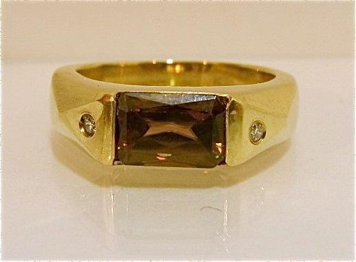 80: 14K Yellow Gold Smokey Topaz & Diamond Ring, 5.90dw