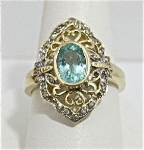 10K Yellow Gold  Aquamarine & Diamond Ring