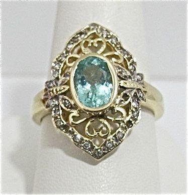 82: 10K Yellow Gold  Aquamarine & Diamond Ring