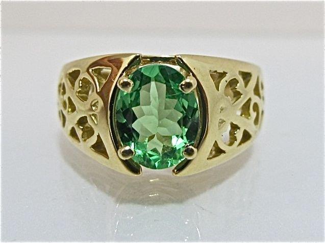 84: 18K Yellow Gold Peridot Ring