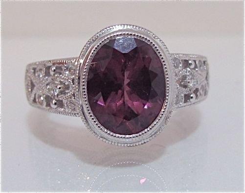 89: 14K White Gold Pink Tourmaline & Diamond Ring