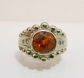 14K White Gold Imperial Topaz & Diamond Ring