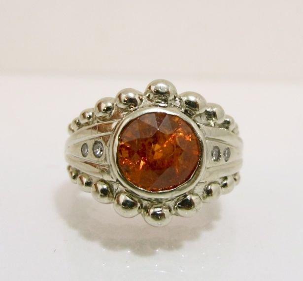 94: 14K White Gold Imperial Topaz & Diamond Ring
