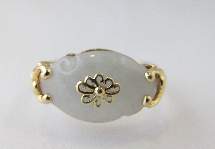 96: 14K Yellow Gold Jade Ring, 2.07dwt