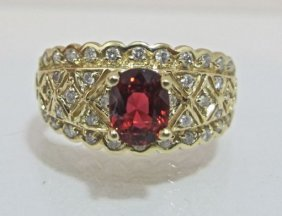 14KYG Garnet & Diamond Ring