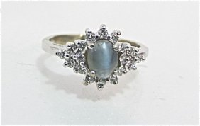14K White Gold Cat's Eye & Diamond Ring