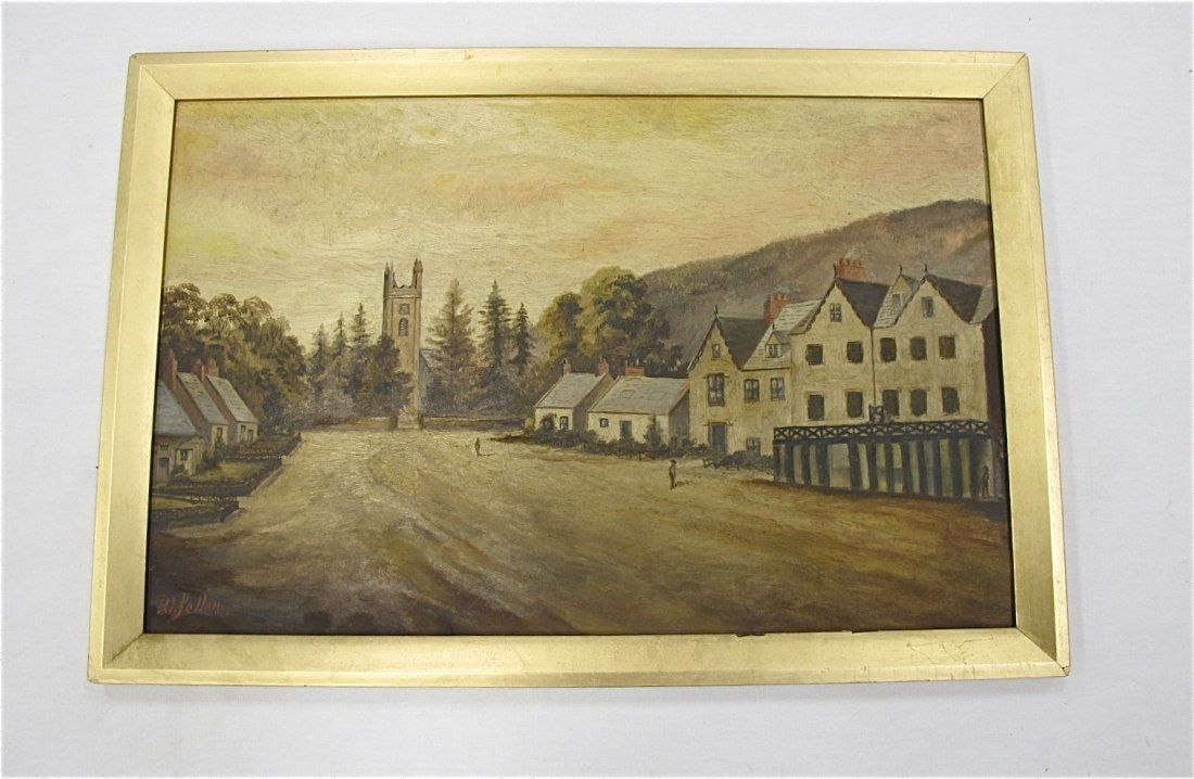 107: English Town Scene, Oil on Canvas, W. Felton