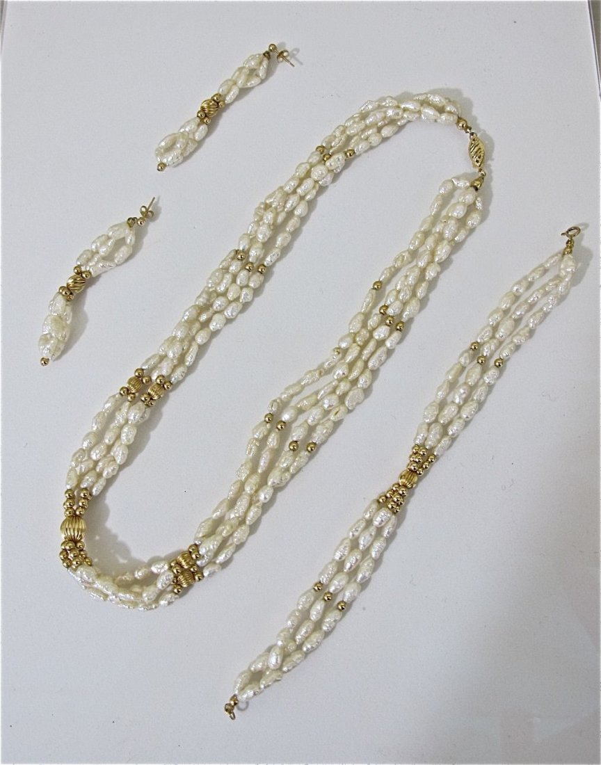5: 14K Yellow Gold Freshwater Pearl Necklace