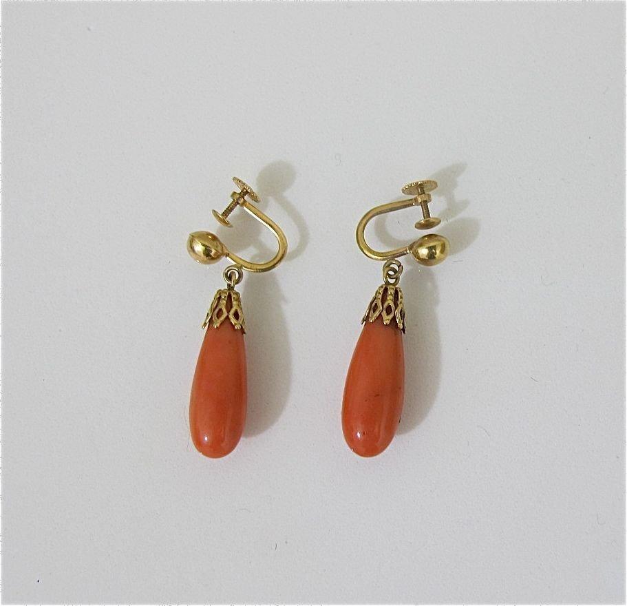 7: 14K Yellow Gold Coral Drop Earrings, ca. 1950