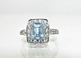 10: 10K White Gold Aquamarine & CZ Ring, Aqua=approx. 2