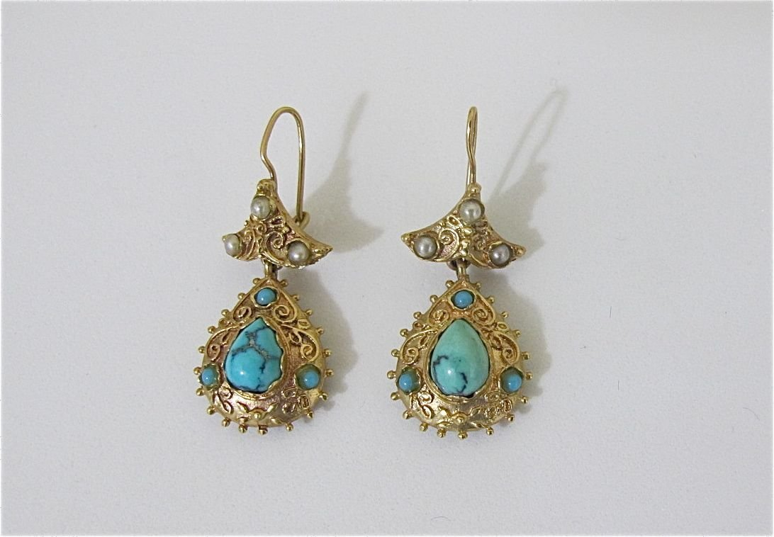 11: 14K Yellow Gold And Turquoise, Seed Pearl Earrings