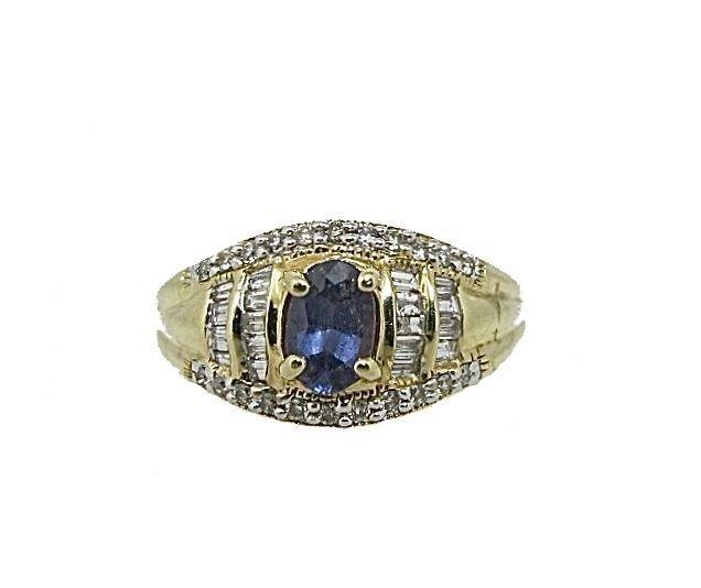 14: 10K Yellow Gold Sapphire & Diamond Ring