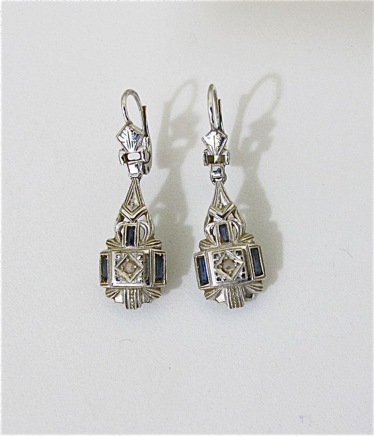 17: 18K White Gold Deco  Diamond & Sapphire Earrings