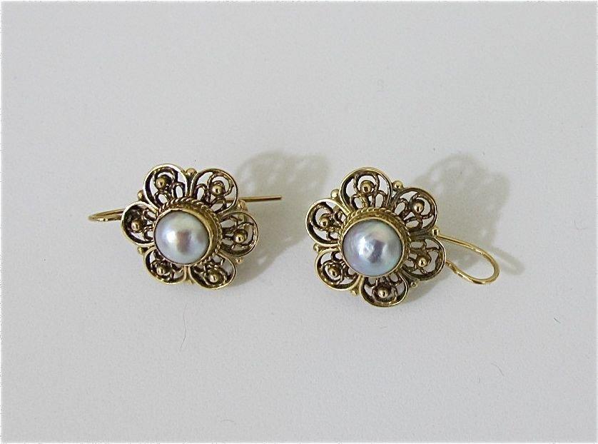 18: 14K Yellow Gold Grey Pearl Drop Earrings