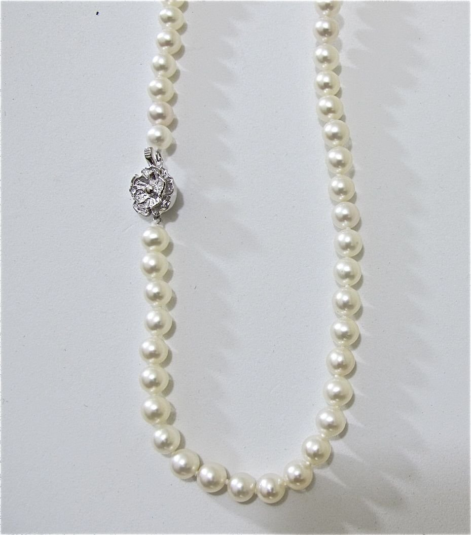 19: Pearl Necklace 7 1/2x8mm With Sterling Silver Clasp