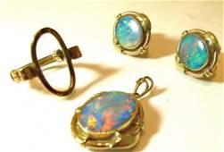 14K Yellow Gold Fire Opal Drop Pendant And Earrings