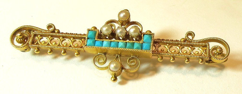 5: 14K Yellow Gold Turquoise And Seed Pearl Pin, 4.81dw