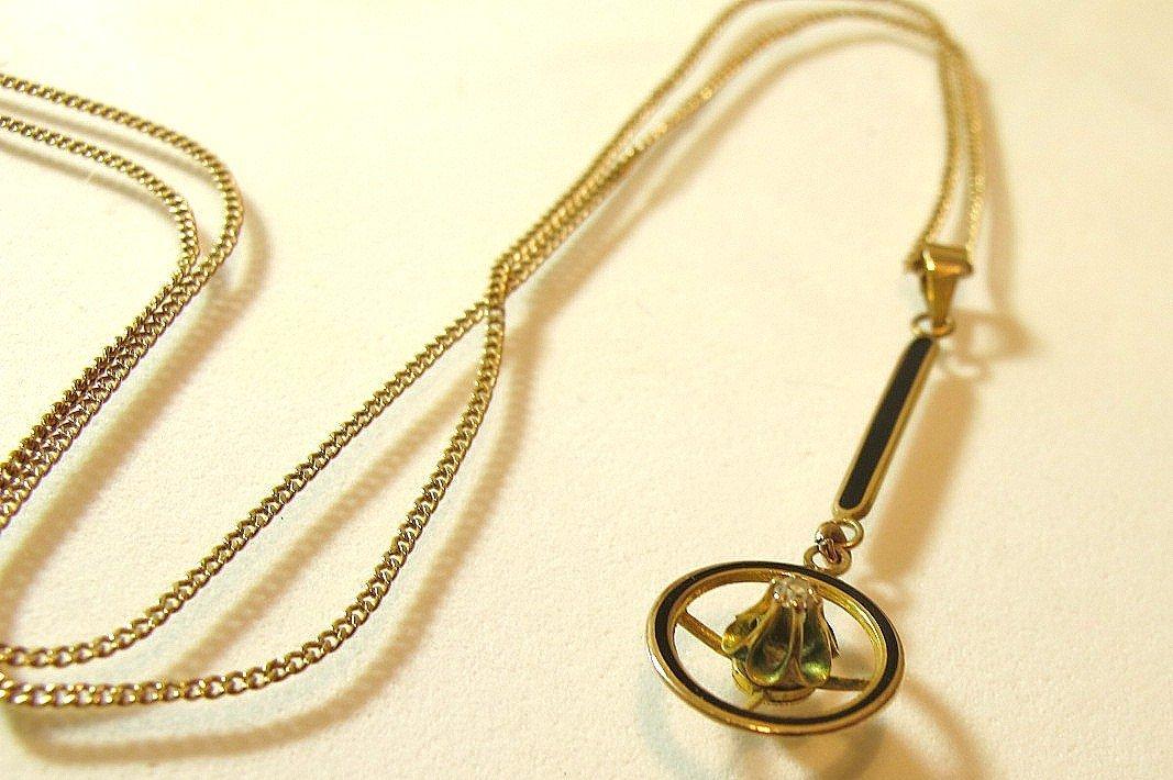 6: 14K Yellow Gold Diamond Drop Pendant